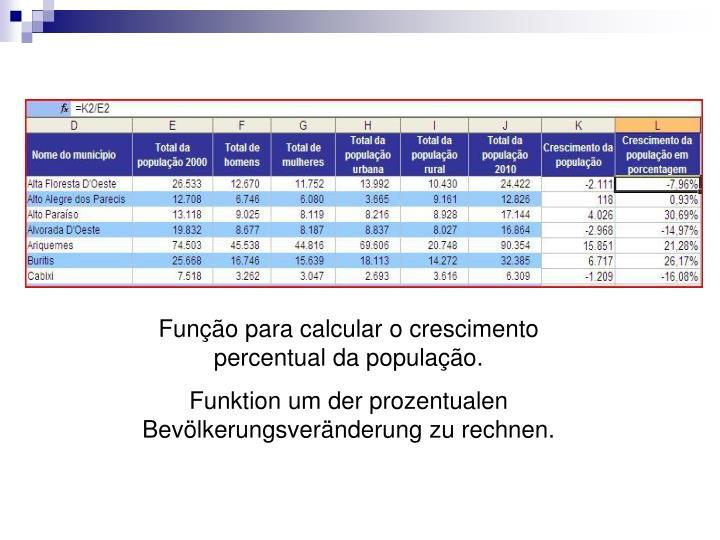 Função para calcular o crescimento percentual da população.