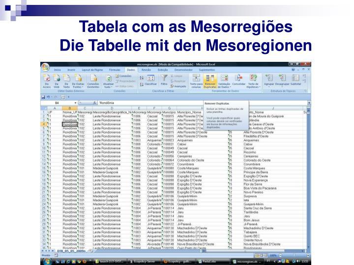Tabela com as Mesorregiões