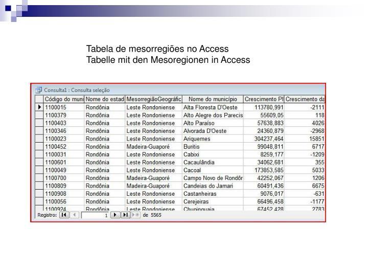Tabela de mesorregiões no Access