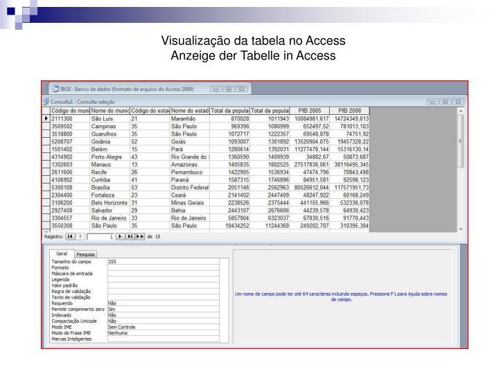 Visualização da tabela no Access