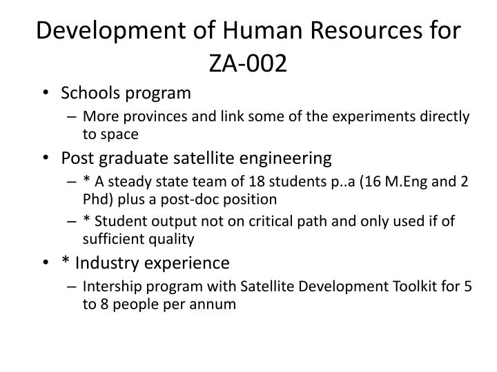 Development of Human Resources for ZA-002