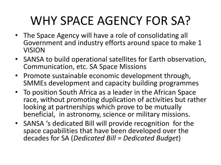 WHY SPACE AGENCY FOR SA?