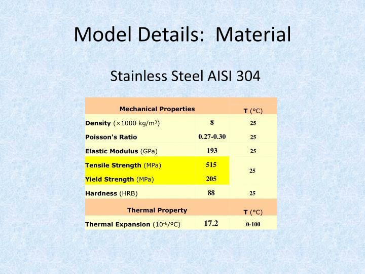 Model Details:  Material