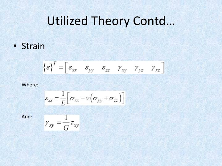 Utilized Theory Contd…