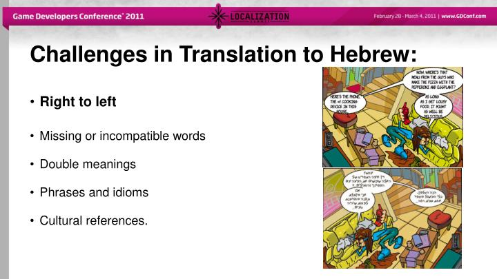 Challenges in Translation to Hebrew: