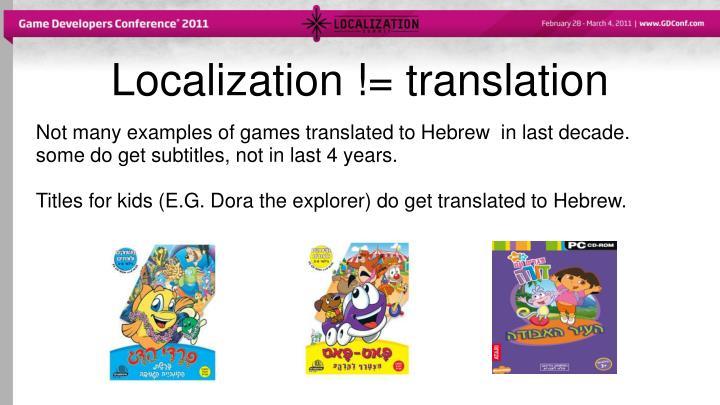 Localization != translation