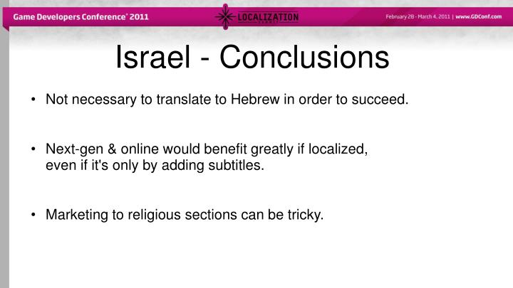 Israel -Conclusions