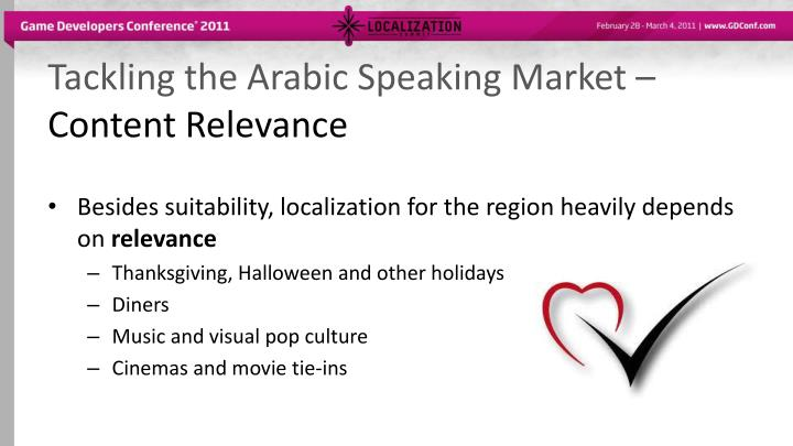 Tackling the Arabic Speaking Market –
