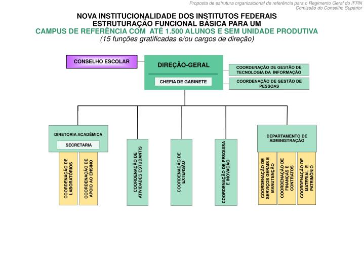 NOVA INSTITUCIONALIDADE DOS INSTITUTOS FEDERAIS