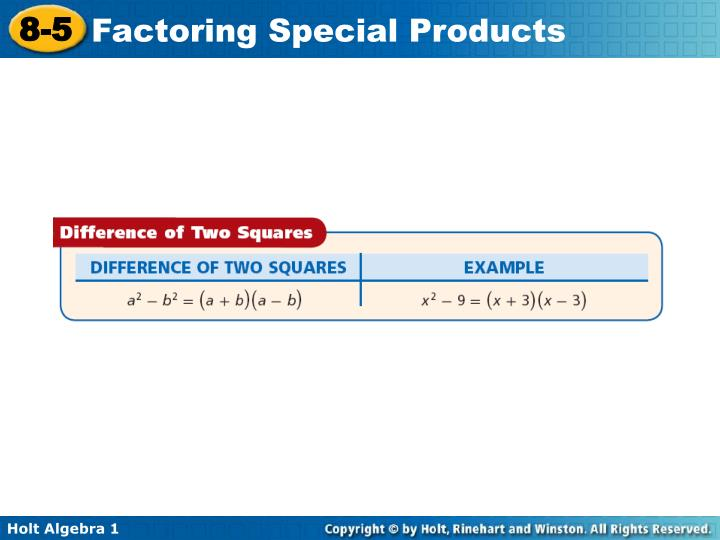 Factor the difference of two squares
