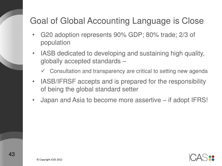 Goal of Global Accounting Language is Close