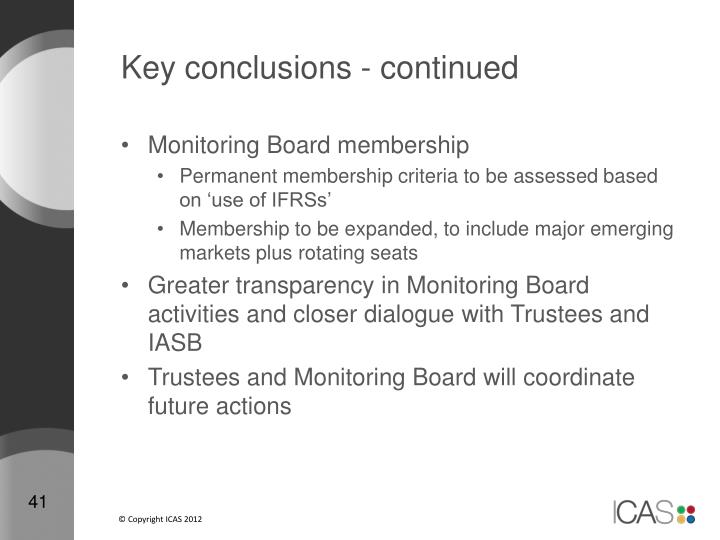 Key conclusions - continued