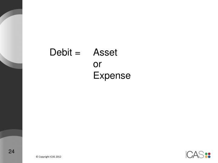 Debit = Asset