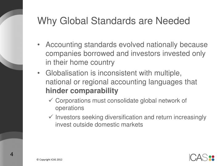 Why Global Standards are Needed