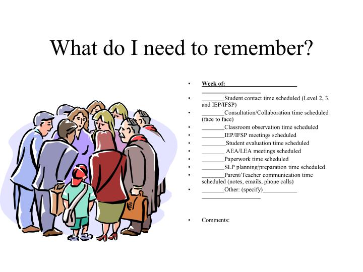 What do I need to remember?