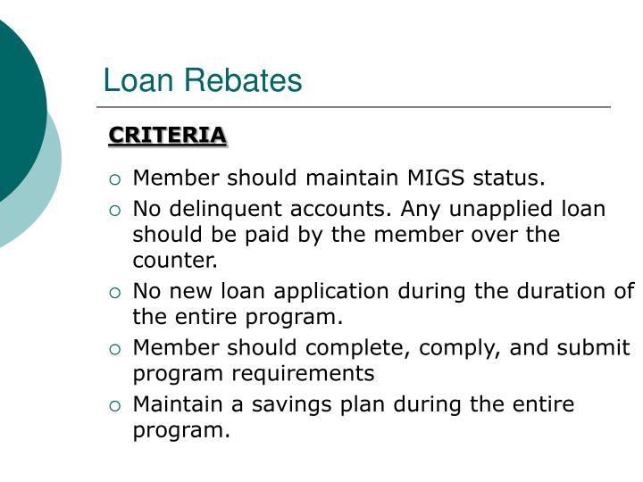 Loan Rebates
