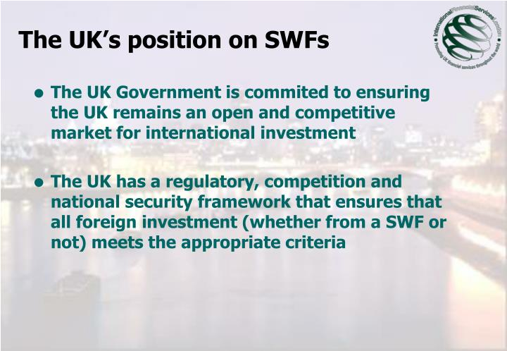 The UK's position on SWFs