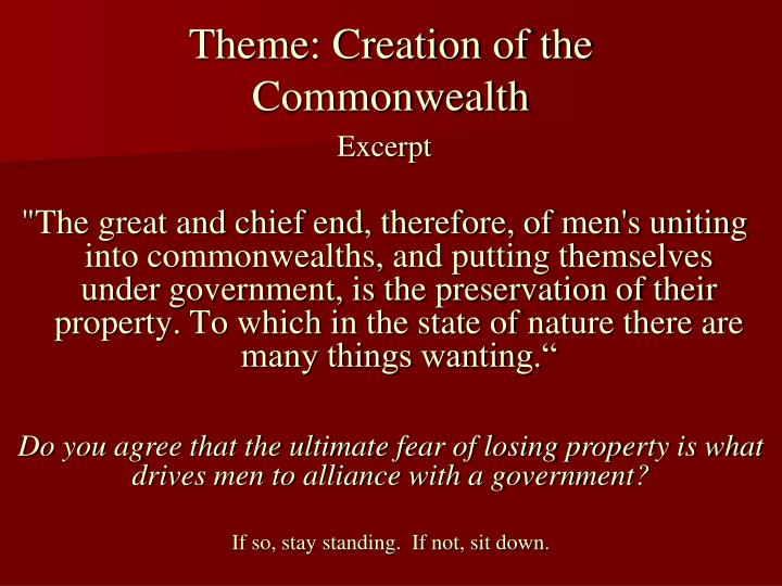 Theme: Creation of the Commonwealth