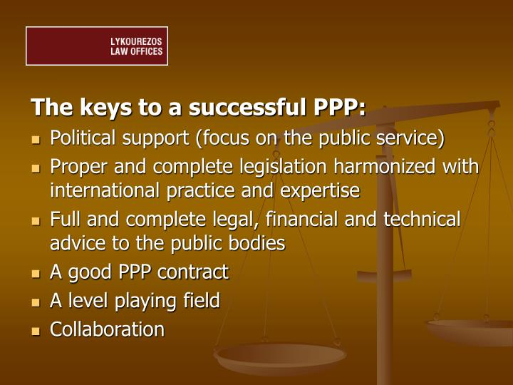 The keys to a successful PPP: