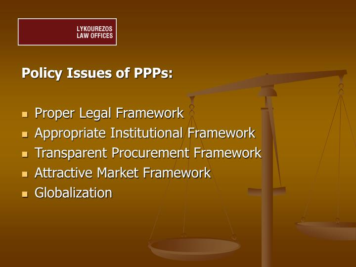 Policy Issues of PPPs: