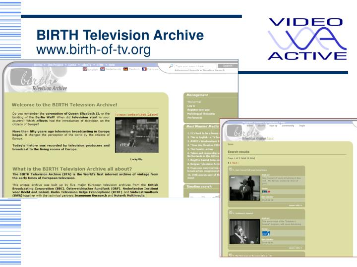 BIRTH Television Archive