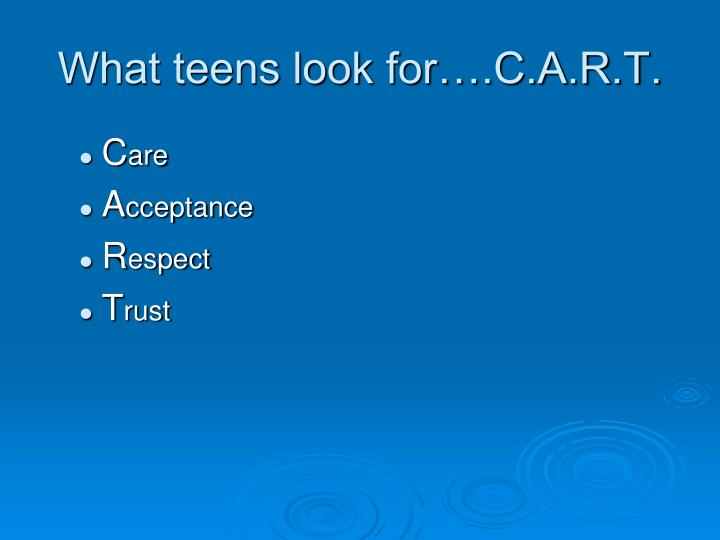 What teens look for….C.A.R.T.
