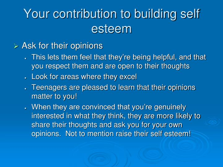 Your contribution to building self esteem