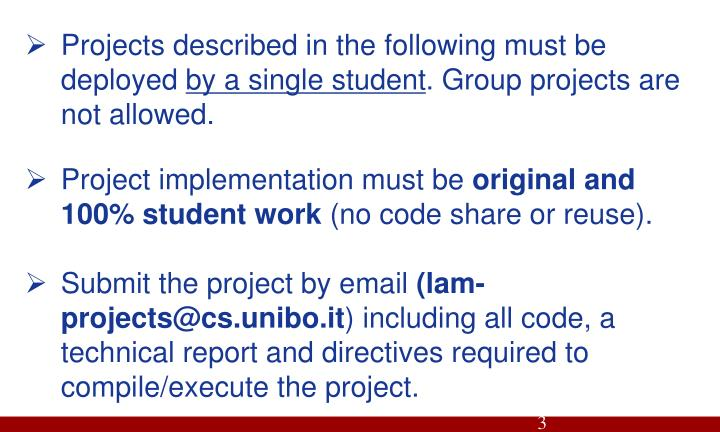 Projects described in the following must be deployed
