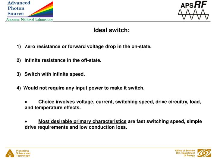 Ideal switch: