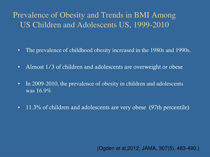 Prevalence of Obesity and Trends in BMI Among US Children and Adolescents US, 1999-2010