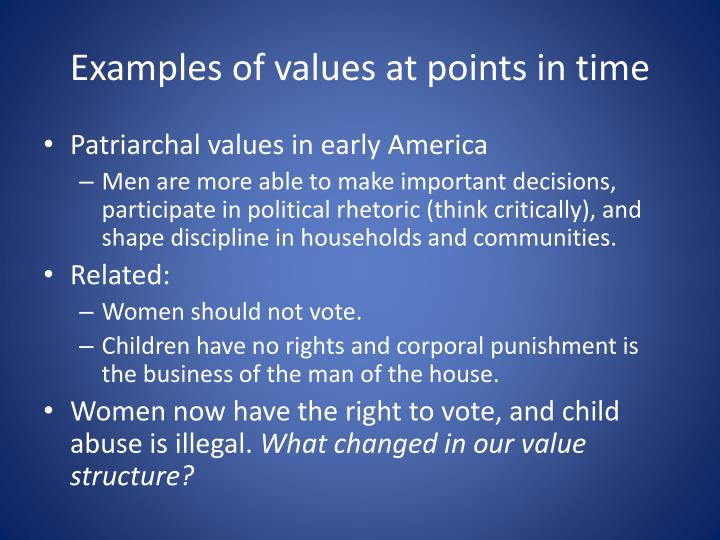 Examples of values at points in time