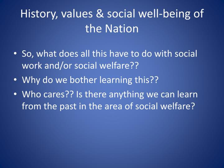 History, values & social well-being of the Nation