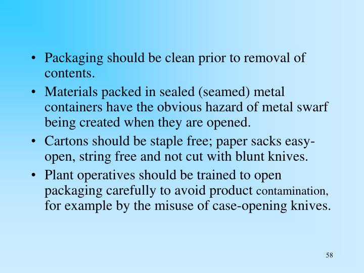 Packaging should be clean prior to removal of contents.