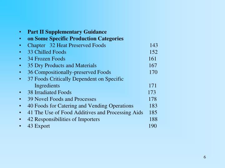 Part II Supplementary Guidance