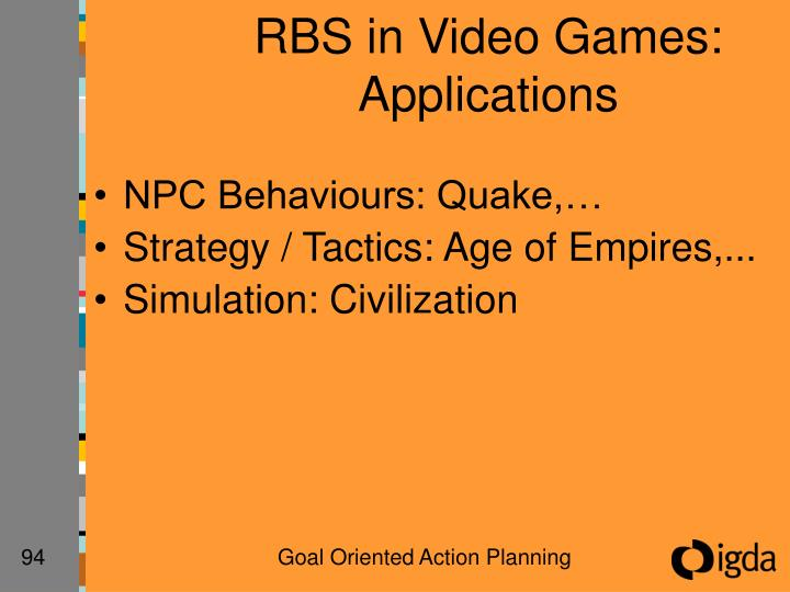 RBS in Video Games:  Applications