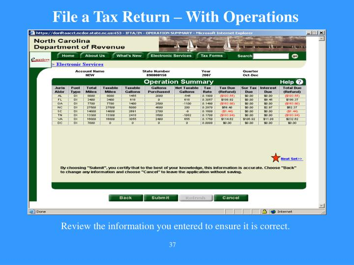 File a Tax Return – With Operations