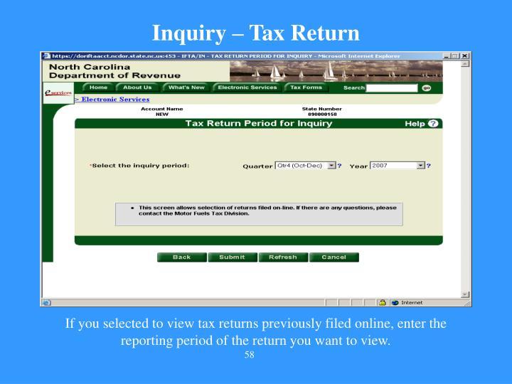 Inquiry – Tax Return