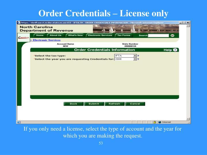 Order Credentials – License only
