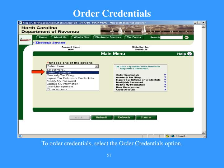 Order Credentials