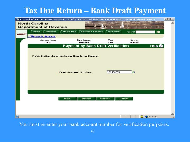 Tax Due Return – Bank Draft Payment