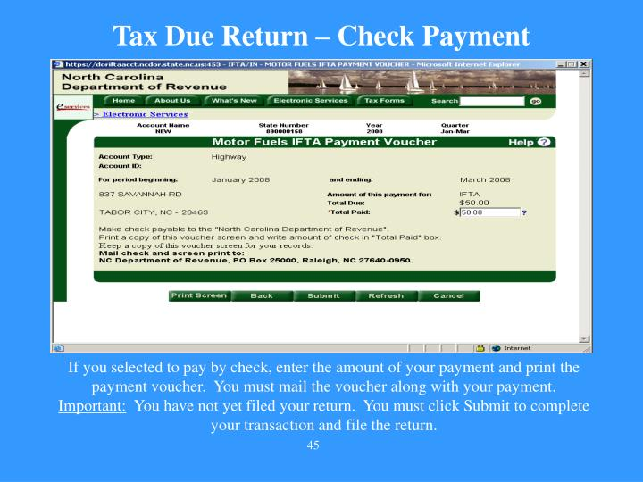 Tax Due Return – Check Payment