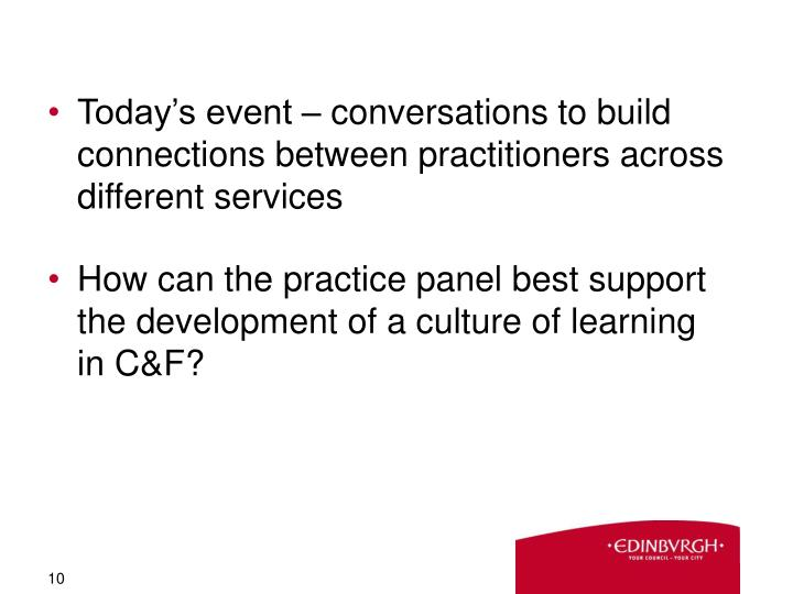 Today's event – conversations to build connections between practitioners across different services