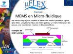 exemple mems en micro fluidique