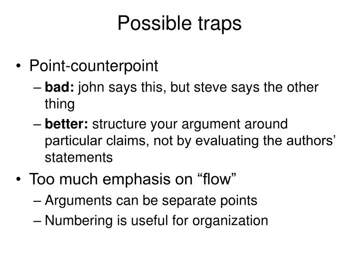 Possible traps