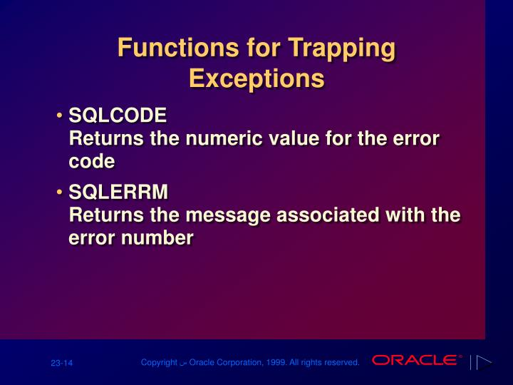 Functions for Trapping Exceptions