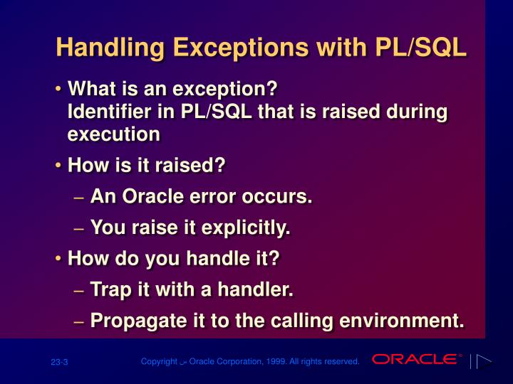 Handling exceptions with pl sql