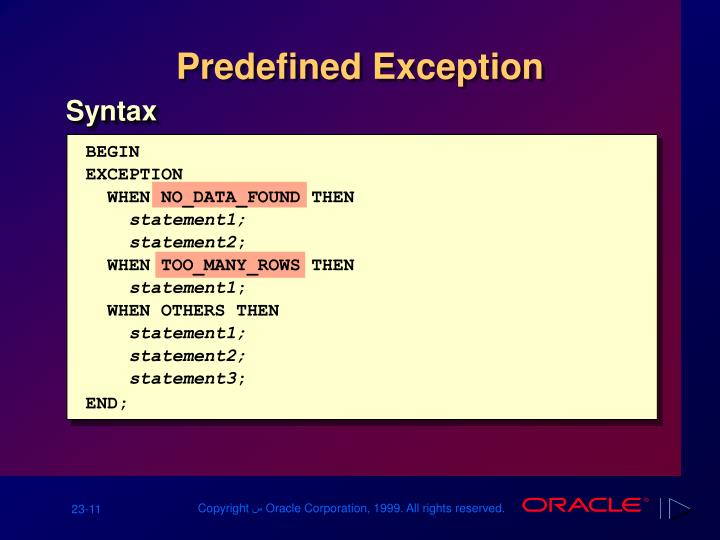 Predefined Exception