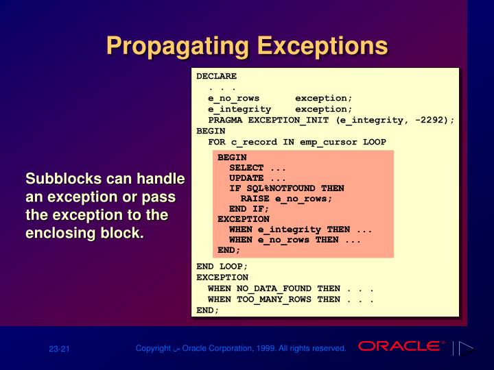 Propagating Exceptions