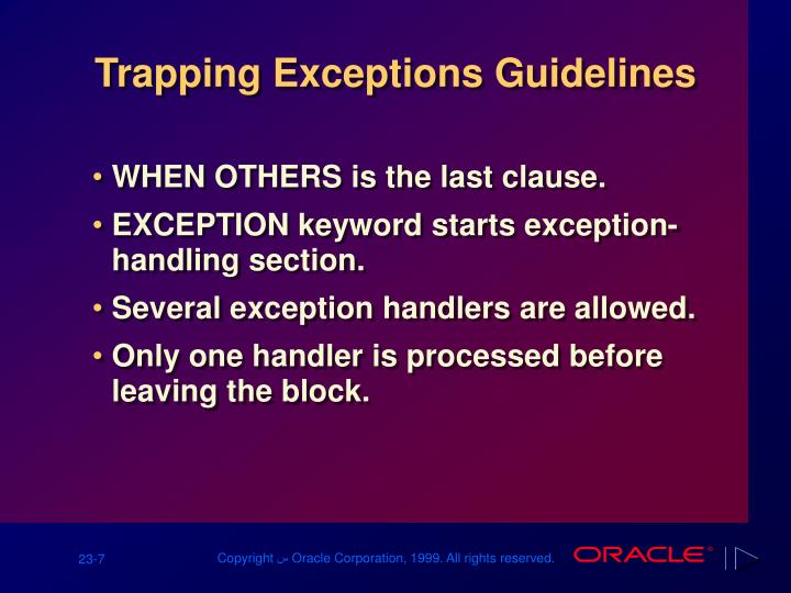 Trapping Exceptions Guidelines