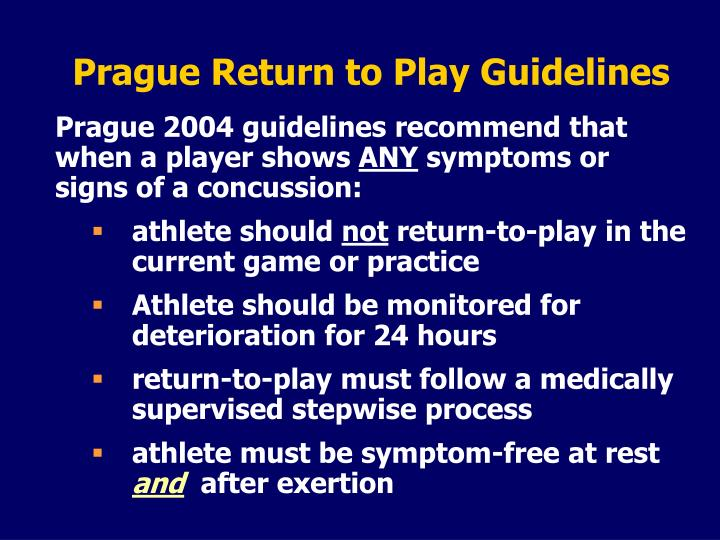 Prague Return to Play Guidelines
